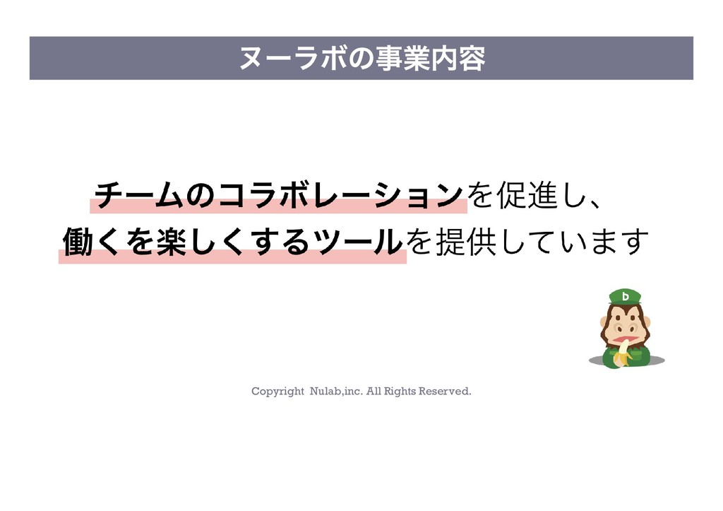 Copyright Nulab,inc. All Rights Reserved. ヌーラボの...