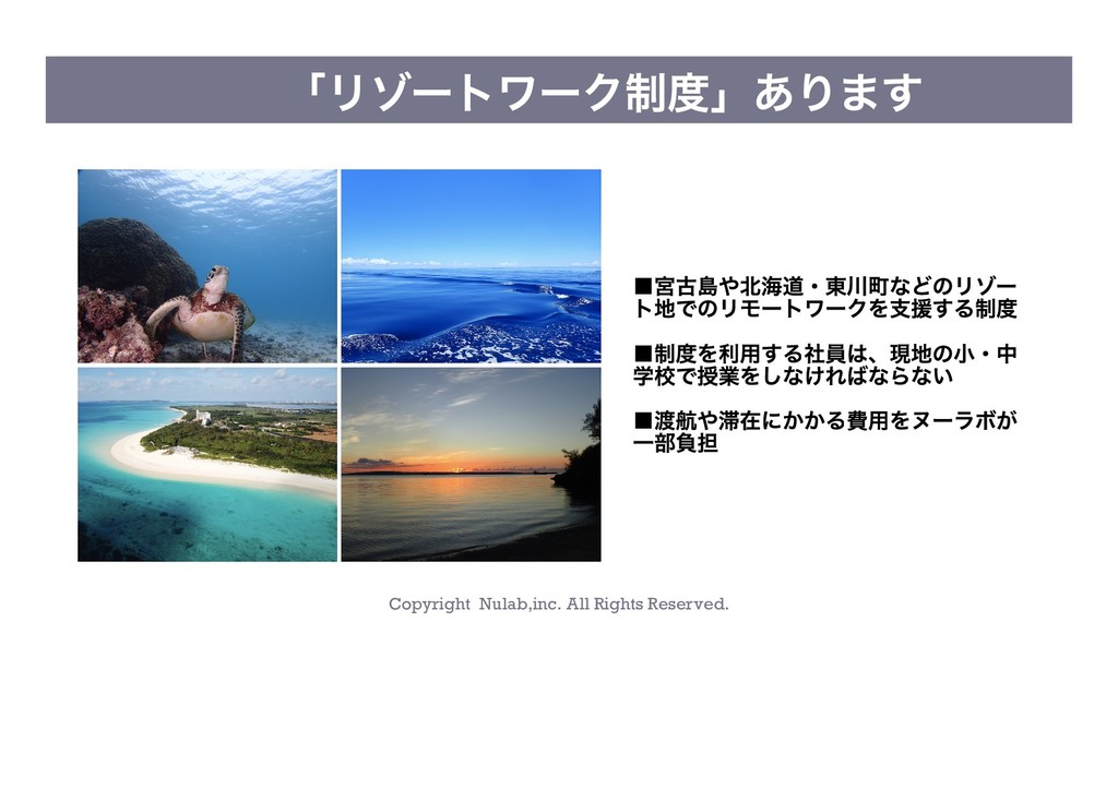 Copyright Nulab,inc. All Rights Reserved. 「リゾート...