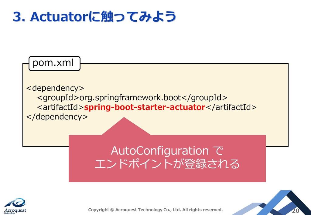 3. Actuatorに触ってみよう Copyright © Acroquest Techno...