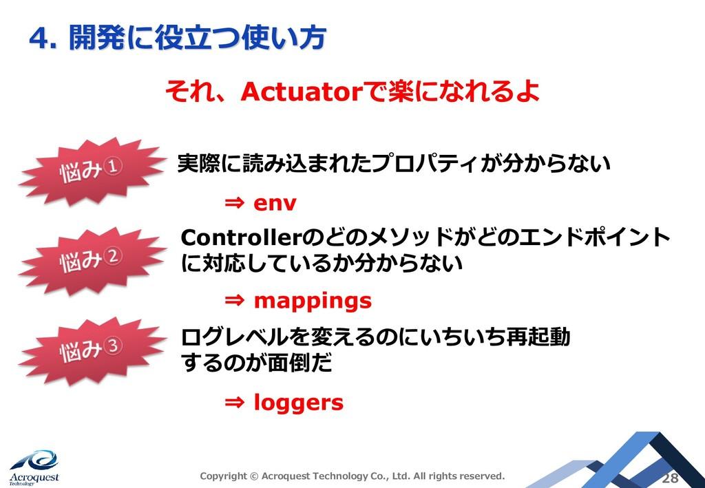 4. 開発に役立つ使い方 それ、Actuatorで楽になれるよ 実際に読み込まれたプロパティが...