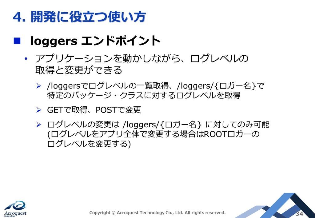 4. 開発に役立つ使い方 ◼ loggers エンドポイント • アプリケーションを動かしなが...