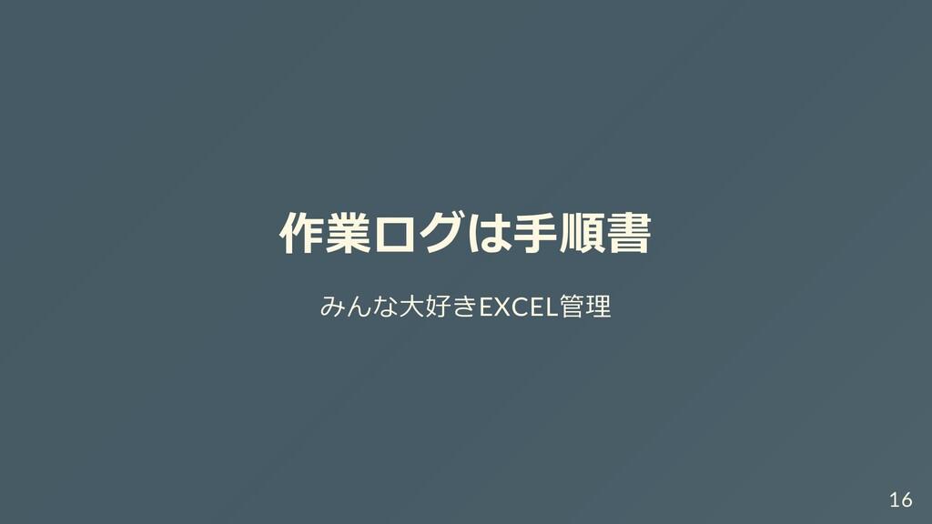 作業ログは⼿順書 みんな⼤好きEXCEL管理 16