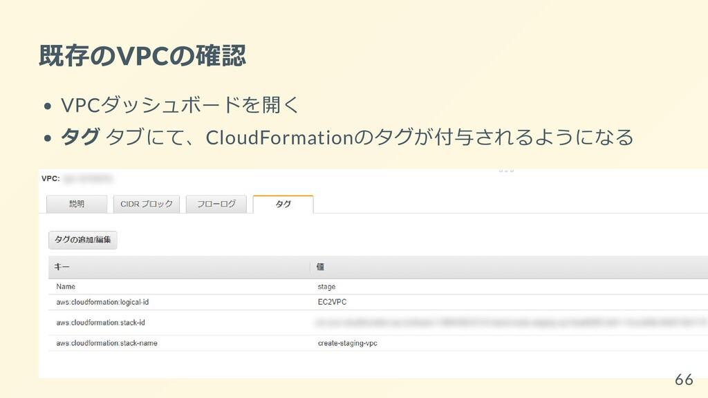 既存のVPCの確認 VPCダッシュボードを開く タグ タブにて、CloudFormationの...