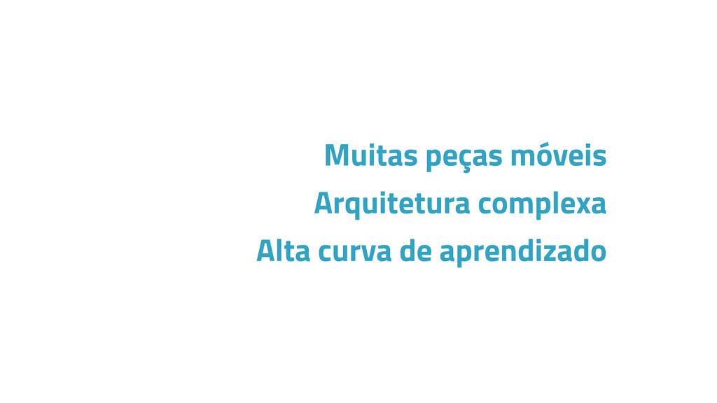 Muitas peças móveis Arquitetura complexa Alta c...