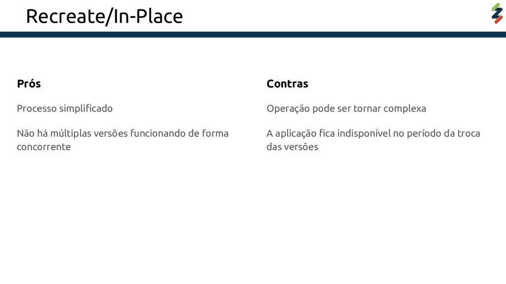 Recreate/In-Place Processo simplificado Não há m...