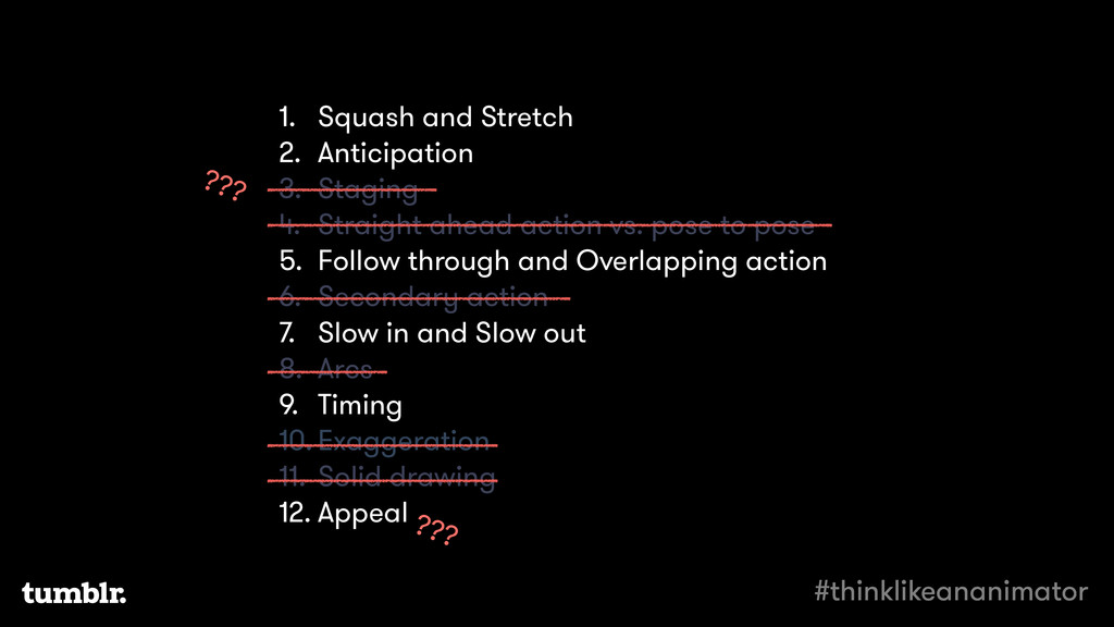 1. Squash and Stretch 2. Anticipation 3. Stagin...