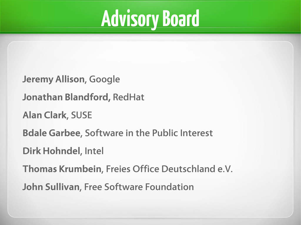 Advisory Board Jeremy Allison, Google Jonathan ...