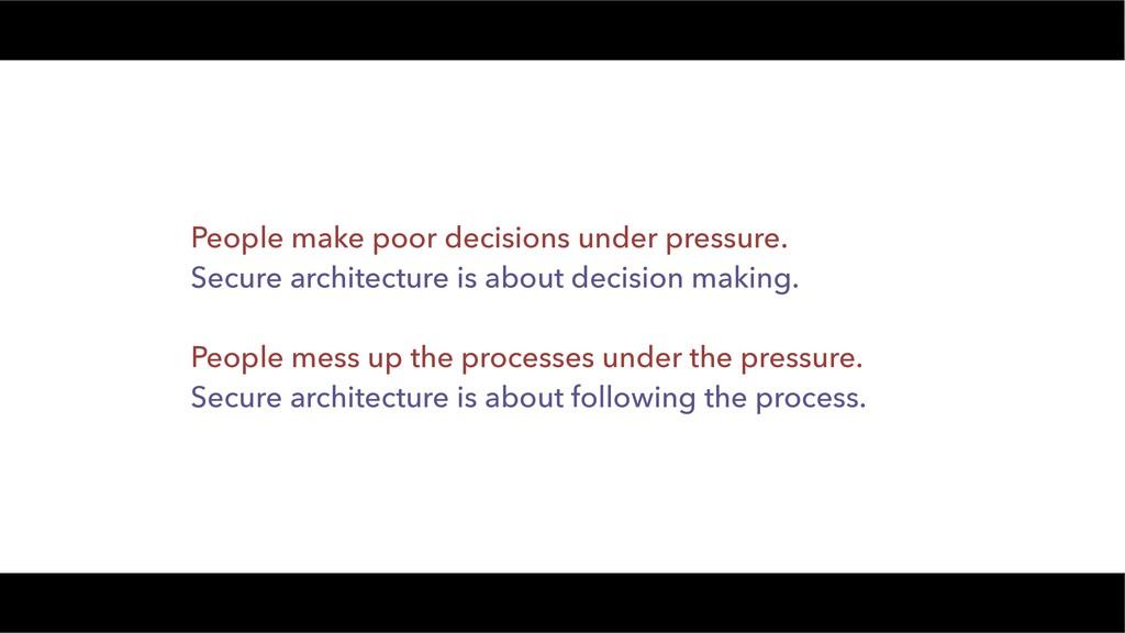 People make poor decisions under pressure. Secu...