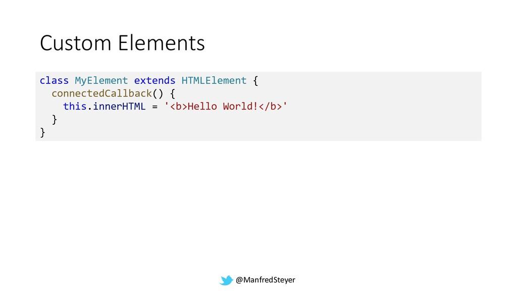 @ManfredSteyer Custom Elements class MyElement ...