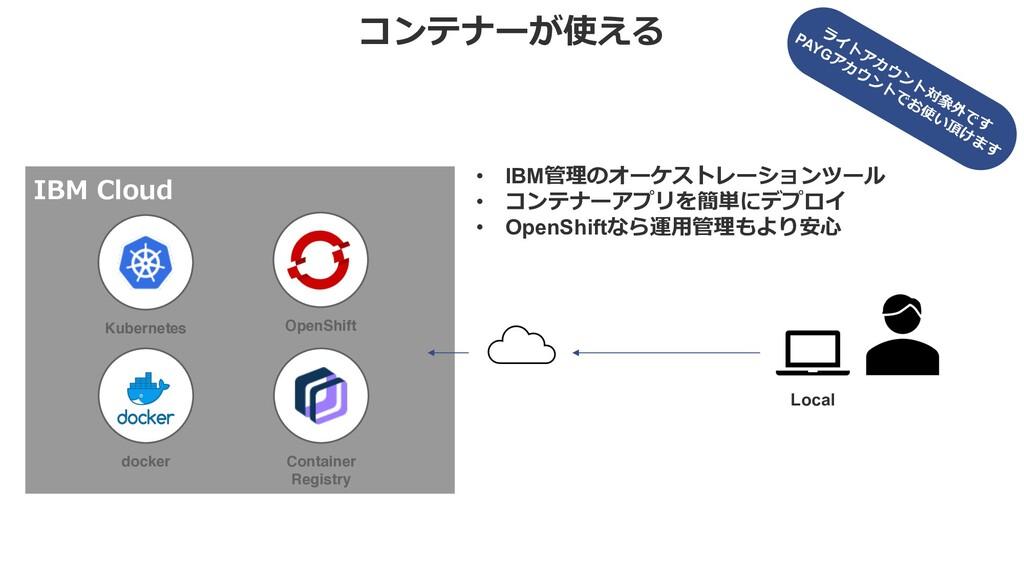 コンテナーが使える IBM Cloud • IBM管理のオーケストレーションツール • コンテ...