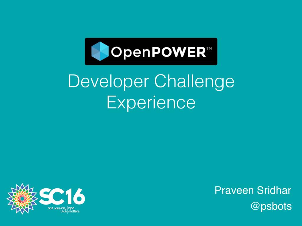 Developer Challenge Experience Praveen Sridhar ...