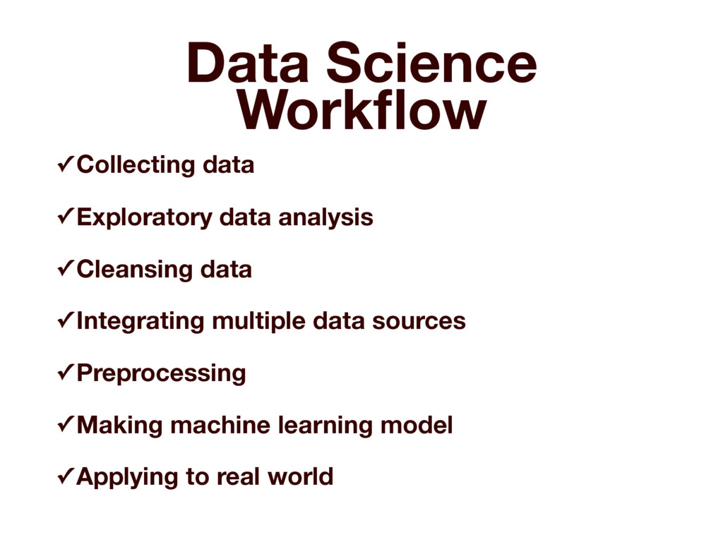 Data Science Workflow ✓ Collecting data ✓ Explor...