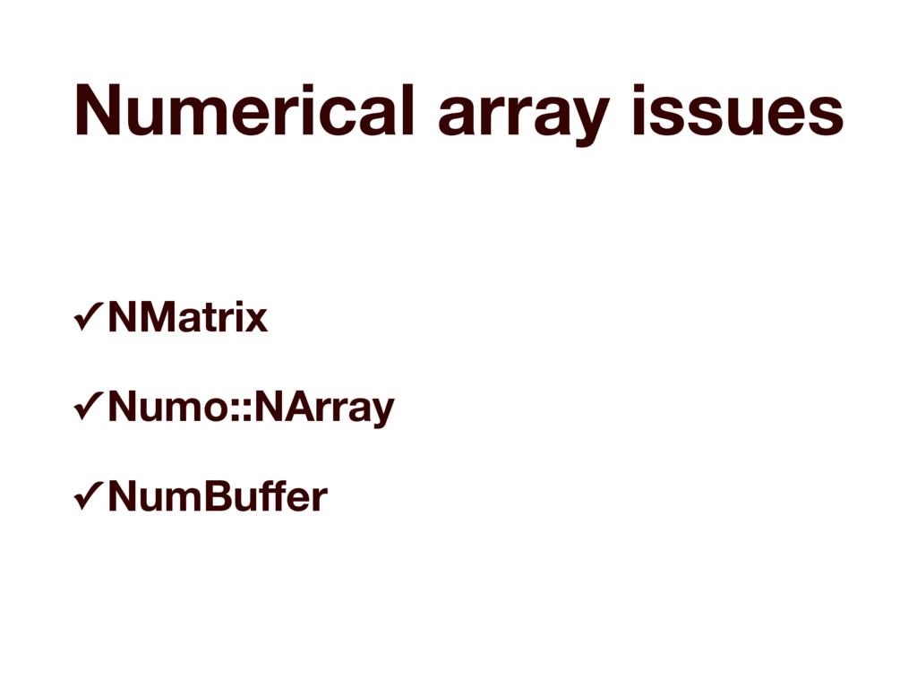 Numerical array issues ✓ NMatrix ✓ Numo::NArray...
