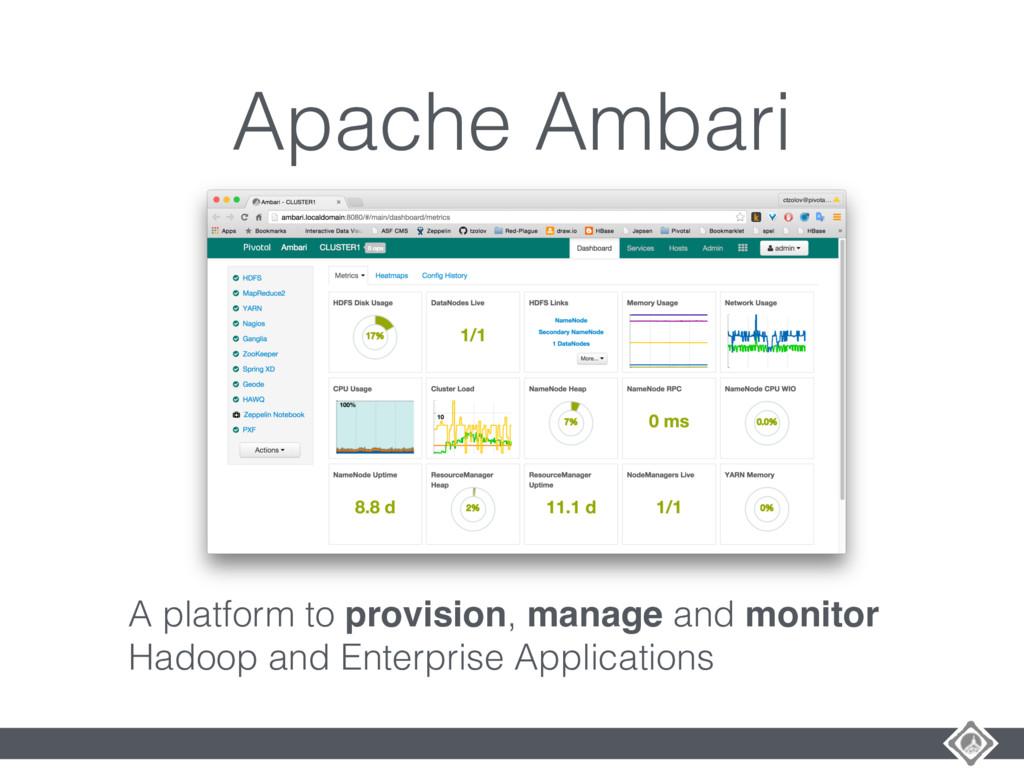 Apache Ambari A platform to provision, manage a...