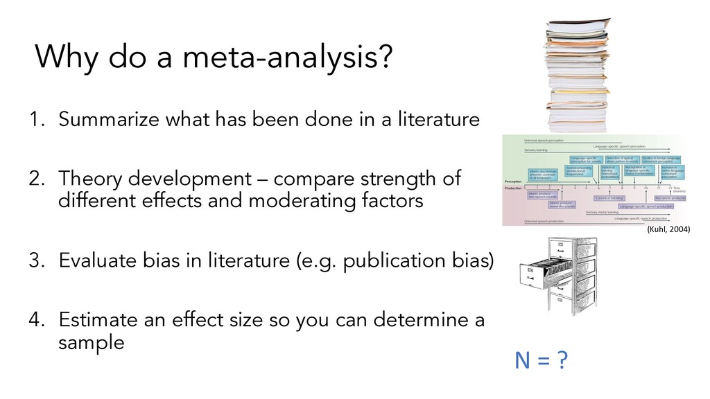 Why do a meta-analysis? 1. Summarize what has b...