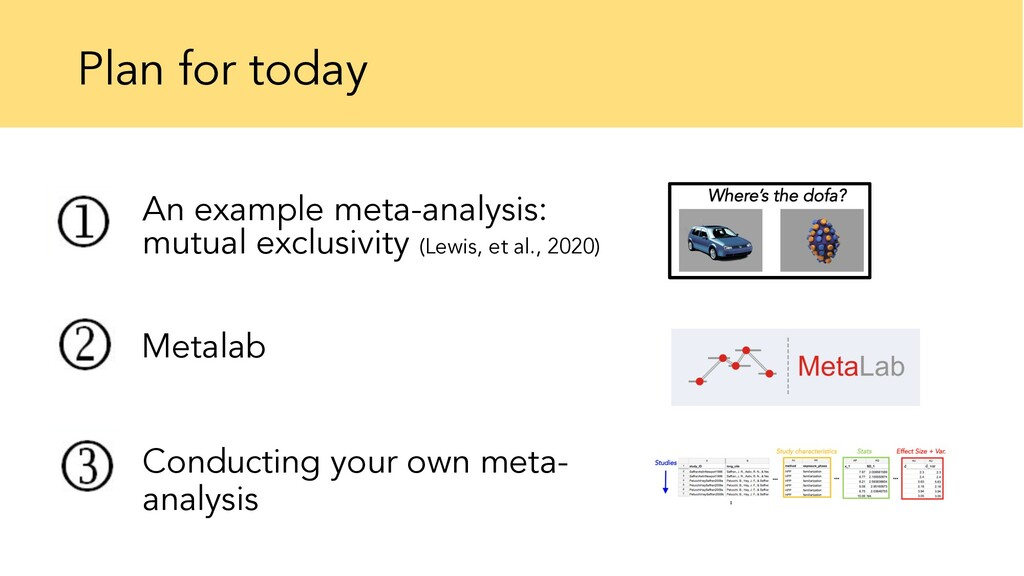 Plan for today An example meta-analysis: mutual...