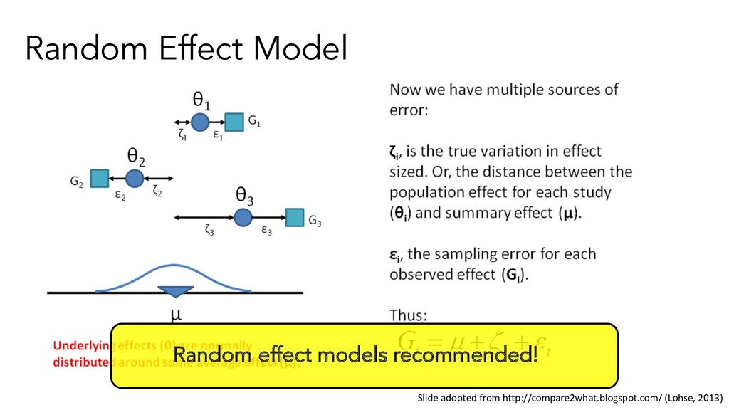 Random Effect Model Random effect models recomm...