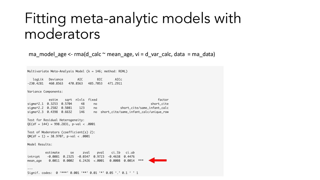 Fitting meta-analytic models with moderators ma...