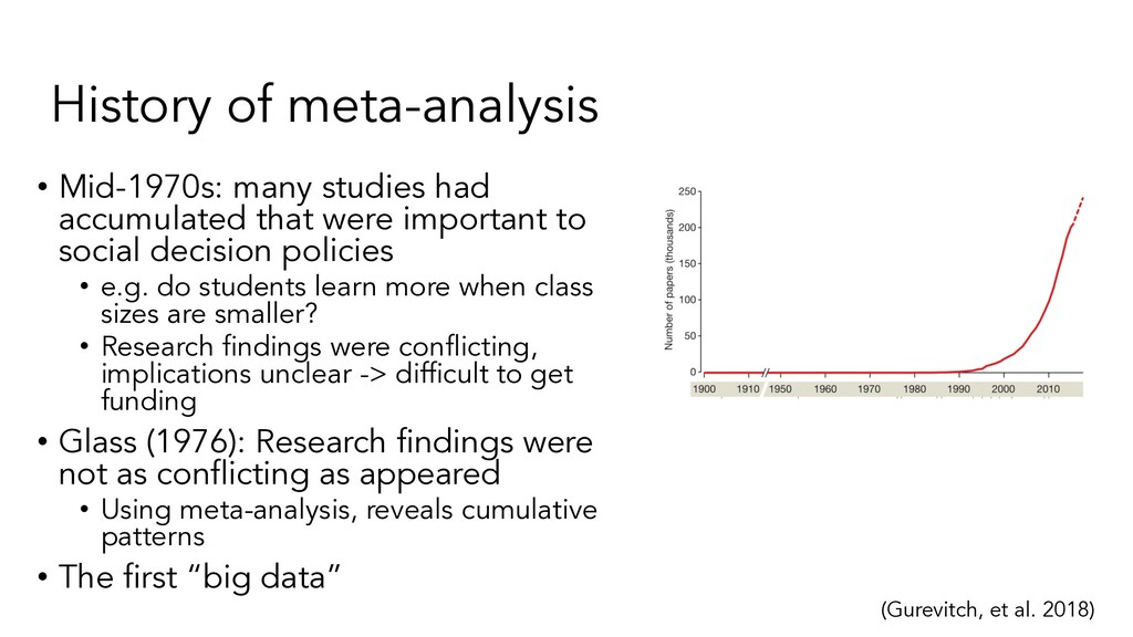 History of meta-analysis • Mid-1970s: many stud...