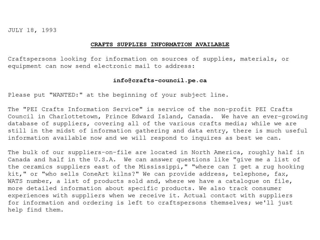 JULY 18, 1993 CRAFTS SUPPLIES INFORMATION AVAIL...