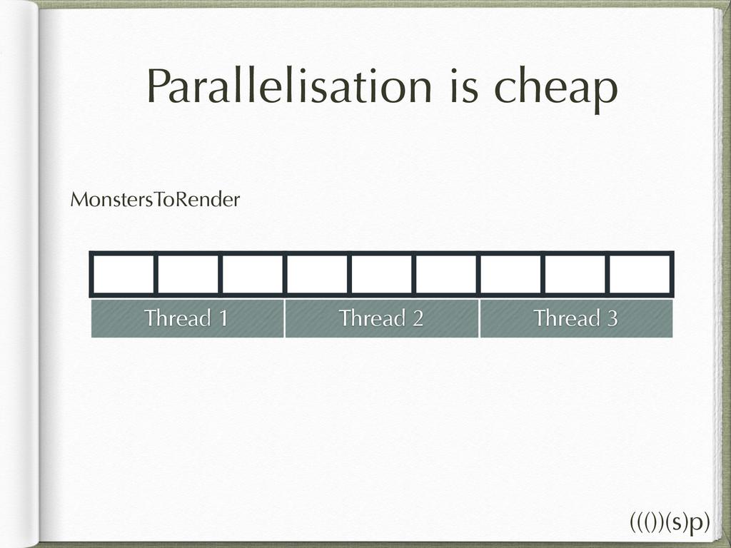 Parallelisation is cheap MonstersToRender Threa...