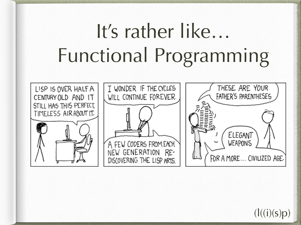 It's rather like… Functional Programming (l((i)...