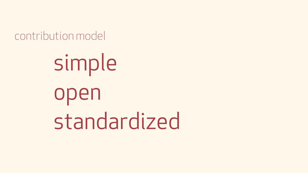 simple open standardized contribution model