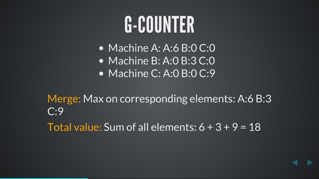 G-COUNTER Machine A: A:6 B:0 C:0 Machine B: A:0...