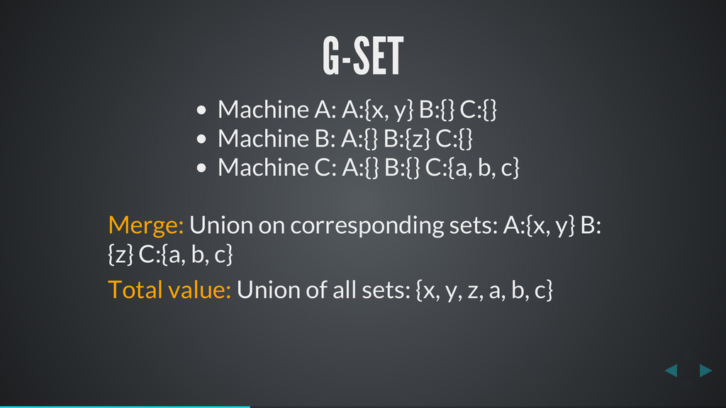 G-SET Machine A: A:{x, y} B:{} C:{} Machine B: ...