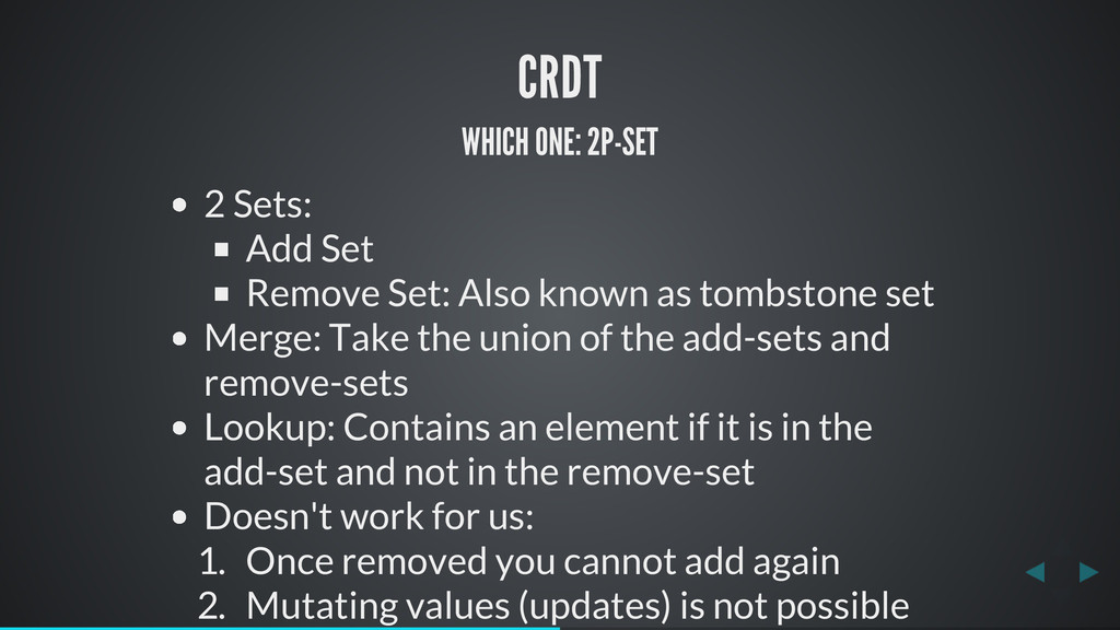 CRDT WHICH ONE: 2P-SET 2 Sets: Add Set Remove S...