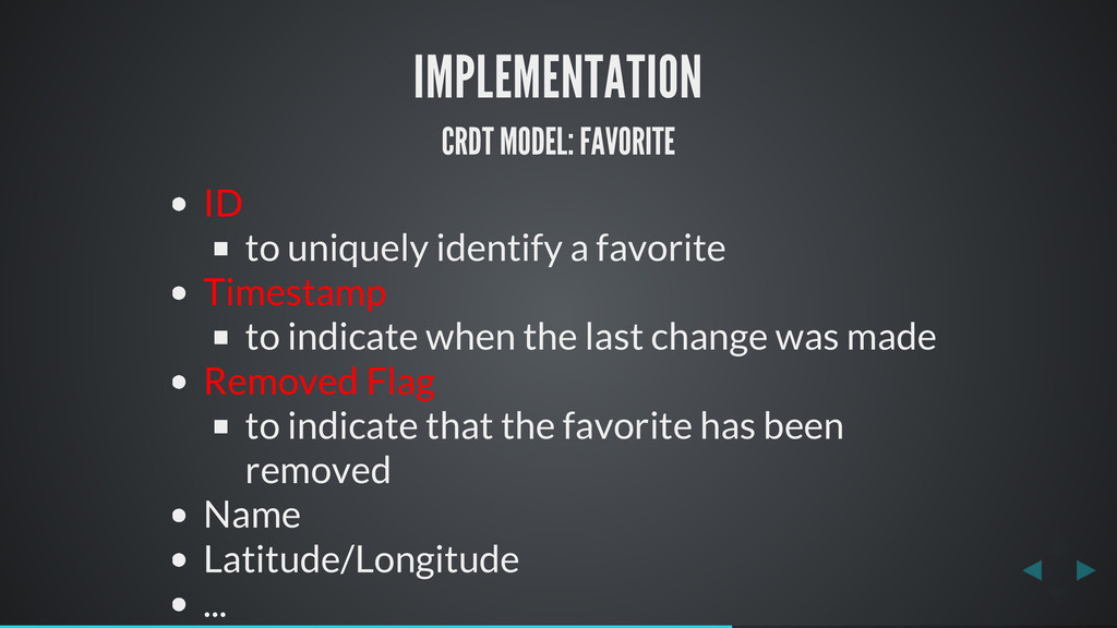 IMPLEMENTATION CRDT MODEL: FAVORITE ID to uniqu...