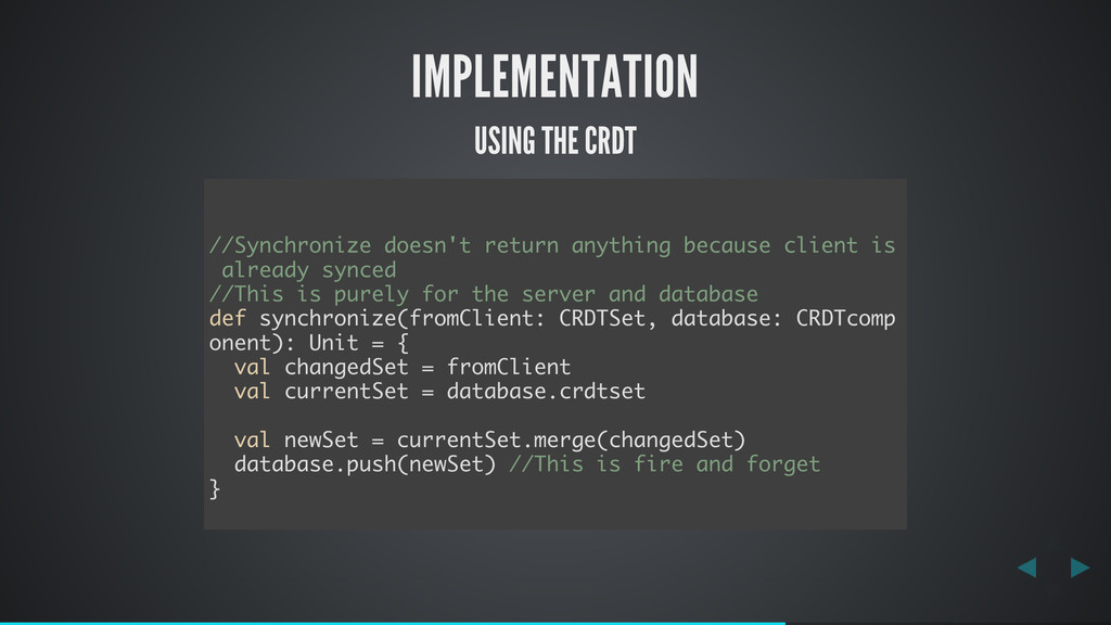IMPLEMENTATION USING THE CRDT //Synchronize doe...