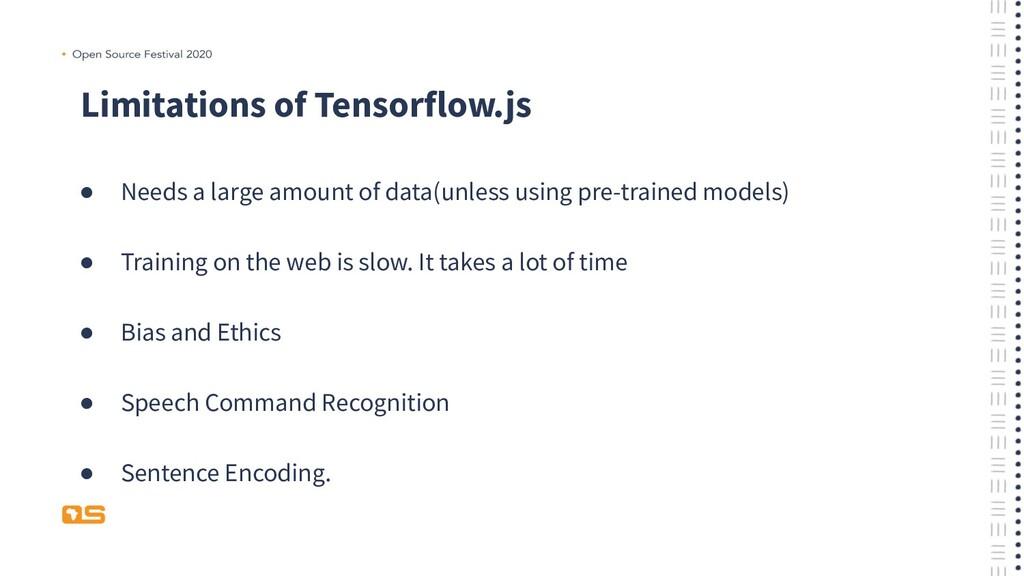 Limitations of Tensorflow.js ● Needs a large am...