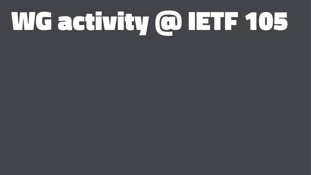 WG activity @ IETF 105