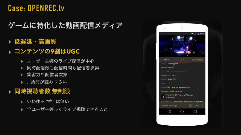 Case: OPENREC.tv ήʔϜʹಛԽͨ͠ಈը৴ϝσΟΞ ▸ Ԇɾߴը࣭ ▸ ί...