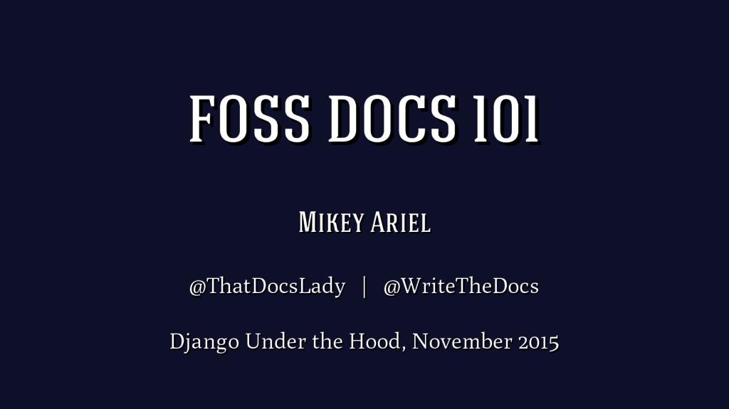 Mikey Ariel Mikey Ariel @ThatDocsLady | @WriteT...