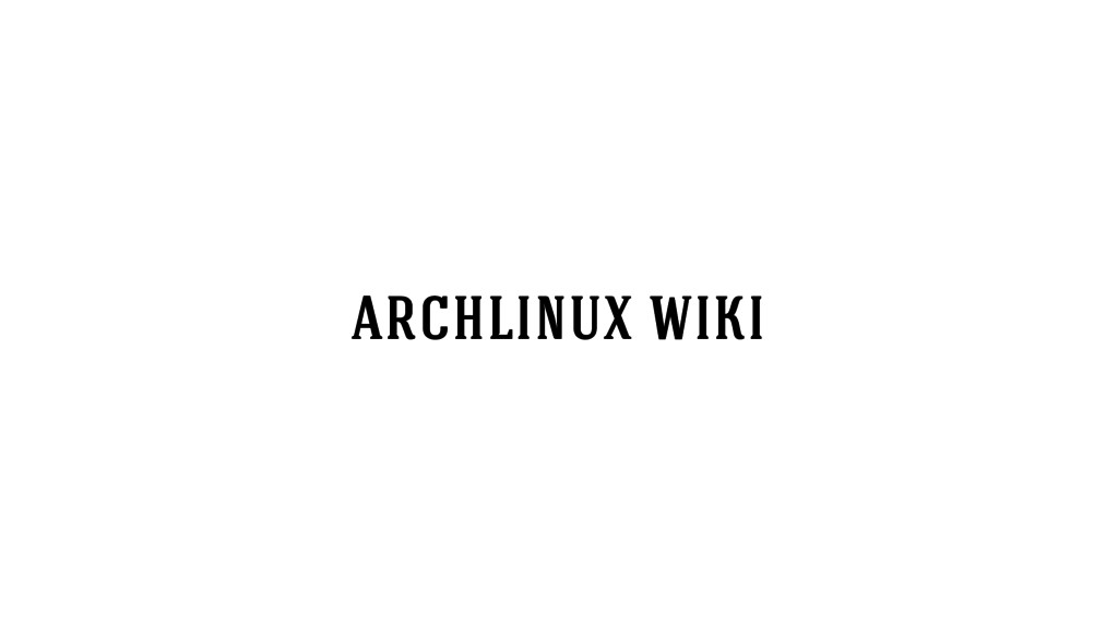 archlinux wiki