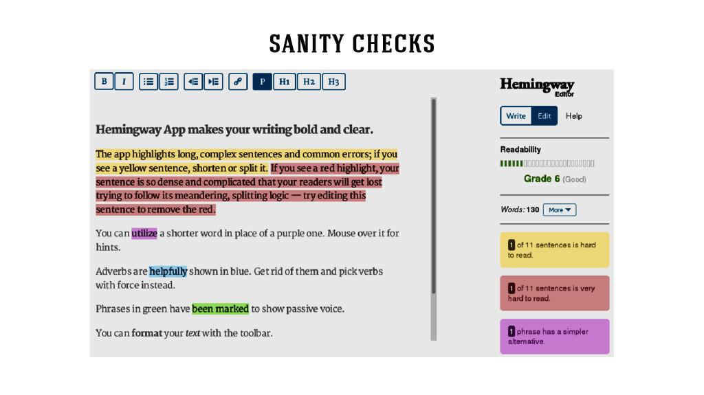 sanity checks
