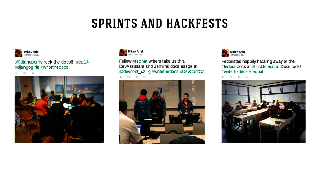 sprints and hackfests
