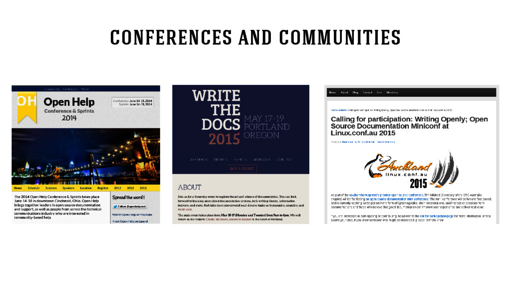 conferences and communities