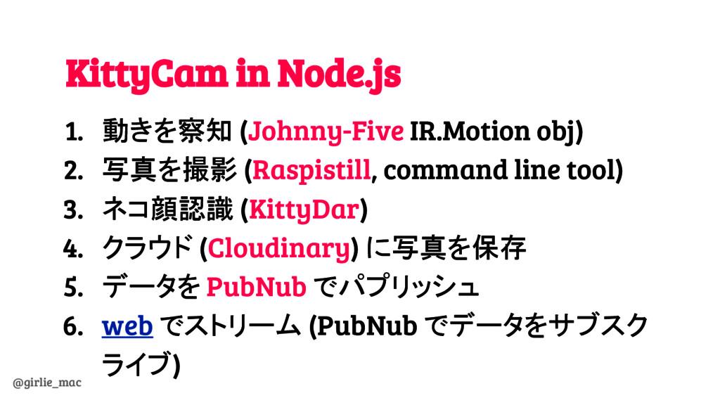 @girlie_mac KittyCam in Node.js 1. 動きを察知 (Johnn...