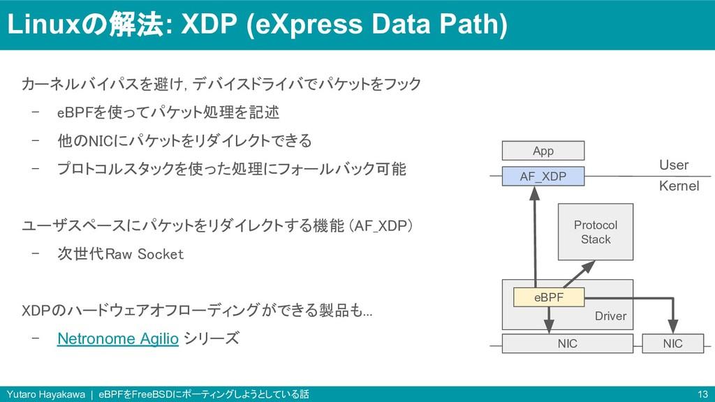 Linuxの解法: XDP (eXpress Data Path) カーネルバイパスを避け, ...