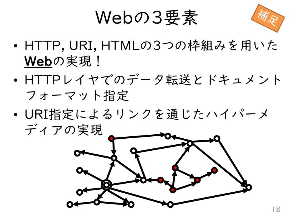 Webの3要素 • HTTP, URI, HTMLの3つの枠組みを用いた Webの実現! • ...