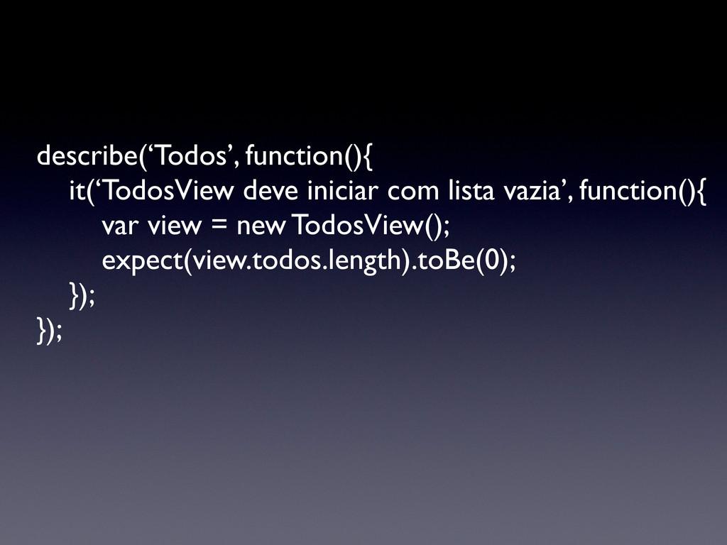 describe('Todos', function(){   it('TodosView...