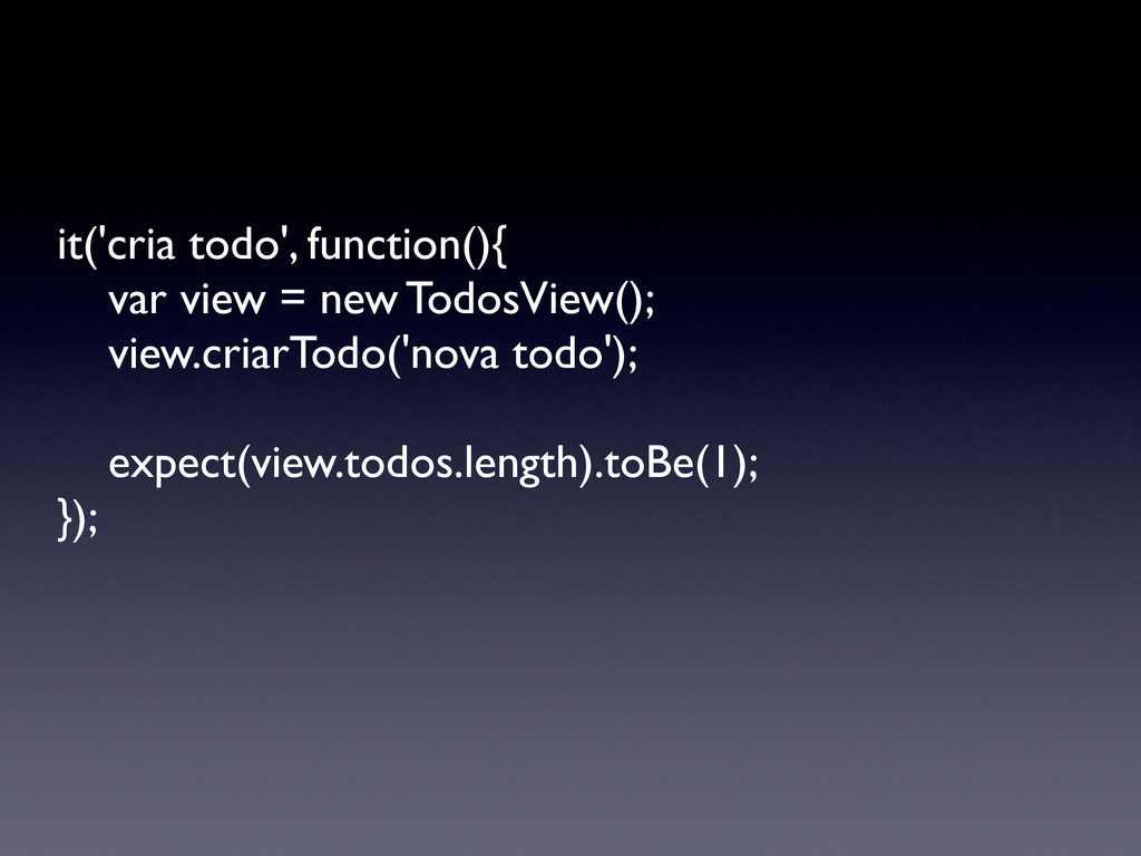 it('cria todo', function(){   var view = new ...