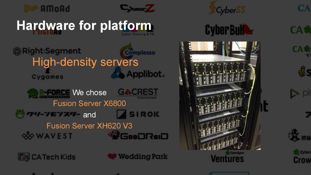 20 Hardware for platform High-density servers W...