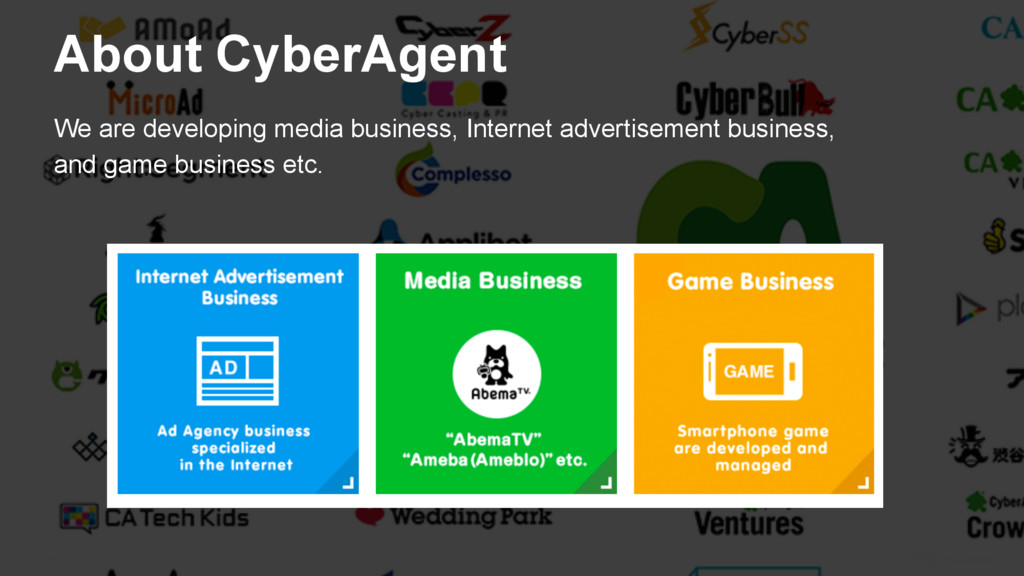 6 About CyberAgent We are developing media busi...