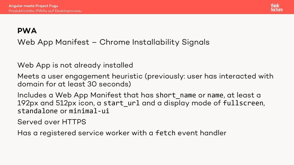 Web App Manifest – Chrome Installability Signal...