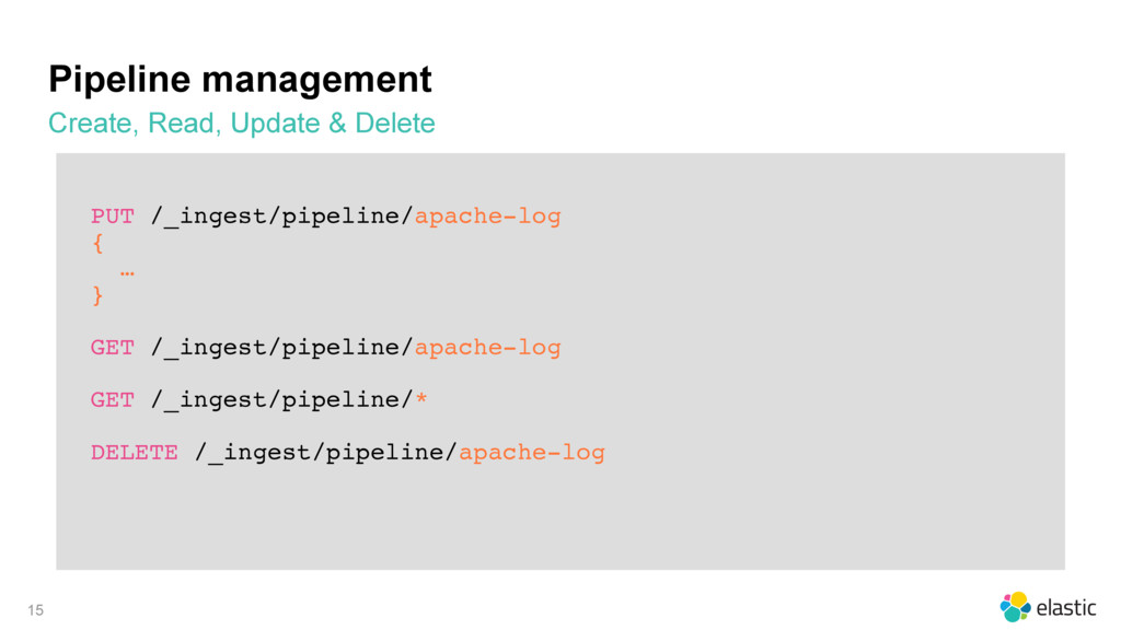 PUT /_ingest/pipeline/apache-log { … } GET /_in...