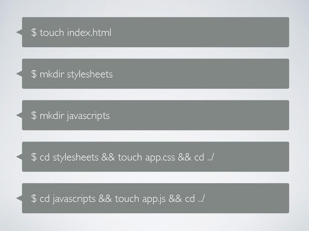 $ touch index.html $ mkdir stylesheets $ mkdir ...